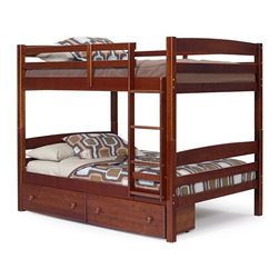 """Woodcrest - Okeene Full over Full Bunk Bed - WCM503 - Shop for Bunk Beds from Hayneedle.com! You can't mess with a classic - but you can super-size it. The Okeene Full over Full Bunk Bed takes a traditional bunk-bed design into bigger territory with spacious full-size bunks ideal for teens or restless sleepers. Crafted with strong solid hardwood this bunk bed's slatted headboards and footboards and thick squared posts are finished in a deep rustic chocolate brown finish that showcases the wood's natural grain. Safety rails run along the top bunk and the attached ladder stays out of the way of everyday floor traffic.Expand bedroom storage possibilities too with optional under-bed storage drawers. Two generous side-by-side drawers slip under the bottom bunk to catch linens entertainment items and seasonal sweaters and pants. Each drawer is equipped with dual wood knobs for smooth easy operation. Choose the bunk bed only; the bunk bed and storage drawers; or the bunk bed and two storage drawers.We take your family's safety seriously. That's why all of our bunk beds come with a bunkie board slat pack or metal grid support system. These provide complete mattress support and secure the mattress within the bunk bed frame. Please note: Bunk beds and loft beds are only to be used by children 6 years of age or older.About Woodcrest ManufacturingIn business for nearly 20 years Woodcrest Manufacturing has grown beyond its simple origins in Peru Indiana to become a leader in global furniture industry partnerships. They specialize in """"stairway bunk bed"""" designs and all their products are tested by independent laboratories to ensure top safety in your child's bedroom."""