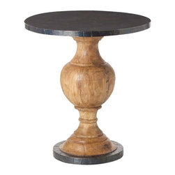 Arteriors - Everett Entry Table, Small - This table certainly makes a grand entrance! A hammered iron top and bottom give it an industrial punch, while the honey-waxed pedestal is classic chic. You get a picture-perfect ending to a winding staircase or large open foyer.