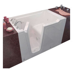 Spa World Corp - Meditub 36x60 Left Drain White Whirlpool Jetted Walk-In Bathtub - Meditub's walk-in bathtub offers safety and independence in an elegant package. Featuring safety features such as a built in color matched grab bar, non-slip floor texture and a wide swinging door for easy entering and exiting of the tub. Fusing the industry�s highest standards for quality construction with an inspired artistic vision offering a beautifully glossy finish reinforced with a stainless steel frame and 6 adjustable legs for leveling. Also included is an ADA compliant contoured seat for comfortable support.