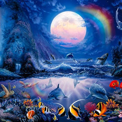 Murals Your Way - Moonlight Splash II Vinyl Wall Decal, Wall Art - As the moon hangs in the sky like a pink pearl, a cove fills with fish, dolphins, whales and turtles. A rainbow in the sky is reflected in the water.