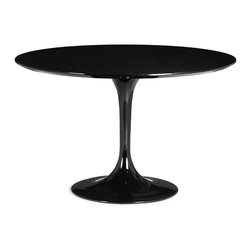 Zuo - Tulip Round Dining Table, Black - The Tulip Round Dining Table is anything but delicate.  With it's classic mid-century shape, the Tulip Round Dining Table is constructed of a glossy coated fiberglass base with a lacquered MDF top.  Comfortably seating four, the Tulip Round Dining Table offers graceful proportions that can accommodate a dining room or breakfast area of any size.  The Tulip's sleek and simple shape pairs well with any of our modern dining chairs for your own unique dining experience.  Choose from white, black or red.  Also available in the coordinating Tulip Side Table.
