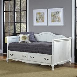 HomeStyles - Rubbed White Daybed - The daybed is constructed of hardwood solids and engineered wood in a heavily rubbed white finish. Features include two large full extension storage drawers. Design features include detailed panels, shaped carved proud legs, and detailed brass hardware. Accommodates a standard twin mattress. Assembly required. 83.5 in. W x 45.75 in. D x 45 in. H
