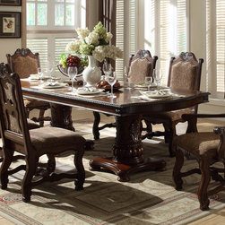 Homelegance - Homelegance Thurmont Double Pedestal Dining Table in Rich Cherry - Stately in design and presence  the Thurmont Collection provides a timeless statement to your formal dining room. Acanthus leaf carvings provide a continuous theme throughout the collection -featured on the china  table and chairs. Cherry book-match veneer provides a classic look to the table top as do the elegantly curved legs. Routing is featured prominently on the accenting chairs  flowing with each curve. The chair backs have an overlay wood design that highlights the richly toned hues of the chair's fabric. Serving as a grand focal point  the china's arched top and decorative beveled glass serve to display your tabletop accessories. Finally  a rich cherry finish adds to the overall design of the Thurmont Collection.