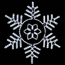 "EnvironmentalLights - Pure White Deluxe 36.5"" LED Snowflake Mot141 - This big, beautiful 36.5"" LED Snowflake adds sparkle to your holiday decorations. Bright and colorful. 36.5 inches wide by 36.5 inches long. Energy-efficient: only 28.7 Watts consumed. Cord is about 70 inches long. Easy installation using suction cup hooks or ties (see companion parts nearby) or other fasteners. Premium UV-LED rope light. Top quality long-life LEDs, spaced 1 inch apart. Indoor/Outdoor. Dims well on the dimmers listed as companion parts. All-weather powder coated steel frame."