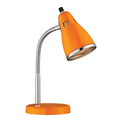 "Lite Source - Contemporary Lite Source Kris Retro Chrome Gooseneck Yellow Desk Lamp - Fun and fresh gooseneck retro desk lamp. Yellow finish. Chrome finish trim and adjustable gooseneck. All-metal construction. On/off rotary switch on shade. Includes one 13 watt CFL bulb or takes one maximum 40 watt incandescent bulb (not included). Color temperature is 2700K. 14 1/2"" high. Shade is 4"" wide and 6"" high. Round base is 5 1/2"" wide.   Fun and fresh gooseneck retro desk lamp.  Yellow finish.  Chrome finish trim and adjustable gooseneck.  All-metal construction.  On/off rotary switch on shade.  Includes one 13 watt CFL bulb or takes one maximum 40 watt incandescent bulb (not included).  Color temperature is 2700K.  14 1/2"" high.  Shade is 4"" wide and 6"" high.  Round base is 5 1/2"" wide."