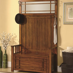 Rich Oak Hall Tree with Storage Bench and Side Hooks - This Hall Tree consists of a bench with lift top and storage for coats and shoes, wood slatted arm rests, top mirror with fretwork details, and 4 hanging hooks. Crafted from select hardwoods with veneers in Rich oak finish.