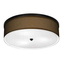 "Giclee Gallery - Khaki 20 1/4"" Wide CFL Bronze Ceiling Light - A bronze frame sets off the appealing pattern that decorates this energy saving ceiling light. This stylish, energy-efficient flushmount fixture features a custom-made giclee style shade with a pattern printed on high-quality canvas. An acrylic disc at the bottom diffuses the light of the three included CFL bulbs. The canopy and accents are in a bronze finish. Flushmount style ceiling light. U.S. Patent # 7,347,593."