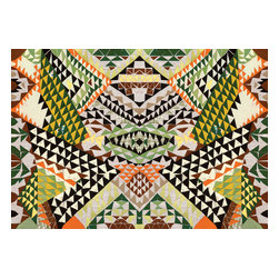 Domestic Construction - Grass Rider Floor Mat, Large - This wild mosaic of pattern will bring a bold pop of color to any room. The low-profile design and the rubber backing make this perfect for an entryway, and the machine-washable fabric means it would be a breeze to keep clean, too!