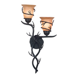 Long Branch 2-light Bronze Wall Sconce -