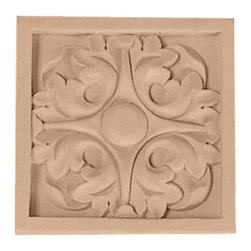 "Ekena Millwork - 3 1/2""W x 3 1/2""H x 3/4""D Medium Leaf Rosette, Lindenwood - 3 1/2""W x 3 1/2""H x 3/4""D Medium Leaf Rosette, Lindenwood. Our rosettes are the perfect accent pieces to cabinetry, furniture, fireplace mantels, ceilings, and more. Each pattern is carefully crafted after traditional and historical designs. Each piece comes factory primed and ready for your paint. They can install simply with traditional adhesives and finishing nails."