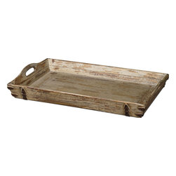 Uttermost - Uttermost Abila Tray in Distressed Antiqued Cream - Tray in Distressed Antiqued Cream belongs to Abila Collection by Uttermost Heavily distressed, antiqued cream finish with natural fir wood undertones and antiqued bronze accents. Cutout handles for ease of carrying. Tray (1)