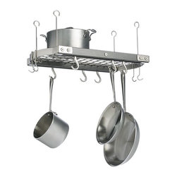 J.K. Adams Small Grey Ceiling Pot Rack - When cabinet space is at a premium, look up for a little extra space. This pot rack will create storage in the turn a few screws.