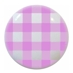 Carolina Hardware and Decor, LLC - Pink Gingham Ceramic Knob - New 1 1/2 inch ceramic cabinet, drawer, or furniture knob with mounting hardware included. Also works great in a bathroom or on bi-fold closet doors (may require longer screws).  Item can be wiped clean with a soft damp cloth.  Great addition and nice finishing touch to any room.