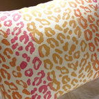 """Candy Hearts Leopard Print Linen Pillow Case By Giardino - Leopard print goes a bit more girly on this pillow by Giardino. I love this for a little girl's room. Or, maybe your """"girl cave"""" or office?"""