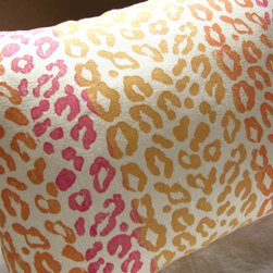 "Candy Hearts Leopard Print Linen Pillow Case By Giardino - Leopard print goes a bit more girly on this pillow by Giardino. I love this for a little girl's room. Or, maybe your ""girl cave"" or office?"