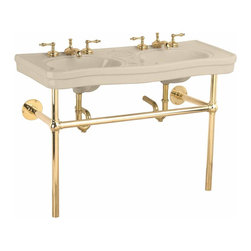 "Renovators Supply - Bone China Double Console Sink Bistro Brass 8"" - Double Vanity: Belle Epoque double deluxe."