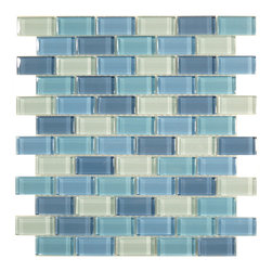 "Glass Tile Oasis - Ocean 1"" x 2"" Blue Crystile Blends Glossy Glass - Sheet size:  11 5/8"" x 11 3/4""        Tile Size:  7/8"" x 1 7/8""        Tiles per sheet:  66        Tile thickness:  1/4""        Grout Joints:  1/8""        Sheet Mount:  Mesh Backed     Sold by the sheet     -"
