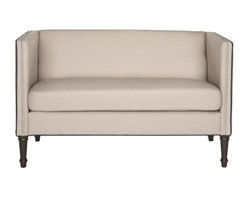 Safavieh - Sarah Tufted Settee With Pillows - A loveseat to love at first sight, the Sarah tufted settee is a transitional update of classic chesterfield and tuxedo sofa styles.  Covered in beige linen-weave poly piped in black with button-tufted back and nailhead trim, it features two throw pillows. Sophisticated yet cozy, the Sarah settee rests on beautifully turned Louis XVI legs in an espresso finish.