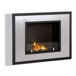 Moda Flame - Rio Wall Mounted Ethanol Fireplace - Rio's minimalist modern design will create a vibrant atmosphere wherever it is mounted. Its square picturesque frame has a powder coated outer layer with a beautiful steel inner frame and a small tempered glass wall to act as a barrier from the flame.