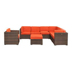 International Home Miami - Atlantic Marseille Sectional 8-Piece Patio Set in Orange - Great quality, stylish design patio sets, made entirely of high quality resin. No metal parts. I won't rust. Polyester cushion with water repellant treatment. Enjoy your patio with elegance all year round with the wonderful Atlantic outdoor collection.