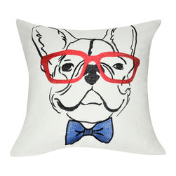 """Loom and Mill - Loom and Mill P0178-2121P 21"""" x 21"""" Cream French Bulldog Decorative Pillow - This fun, hip French Bull Dog decorative pillow wants to grace your home with its witty and unique design.  Spot clean only."""