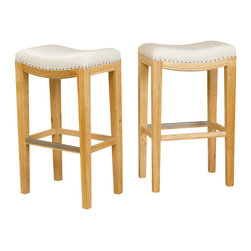 Great Deal Furniture - Jaeden Backless Stools (Set of 2), Beige Fabric Bar Height - The Jaeden bar stools combine elegance and structure. It features a well-padded seat, natural colored legs and silver colored studs curved along the seat. This stool is a perfect transitional piece for your kitchen to your living room.