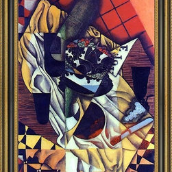 """Art MegaMart - Juan Gris Grapes - 16"""" x 24"""" Framed Premium Canvas Print - 16"""" x 24"""" Juan Gris Grapes framed premium canvas print reproduced to meet museum quality standards. Our Museum quality canvas prints are produced using high-precision print technology for a more accurate reproduction printed on high quality canvas with fade-resistant, archival inks. Our progressive business model allows us to offer works of art to you at the best wholesale pricing, significantly less than art gallery prices, affordable to all. This artwork is hand stretched onto wooden stretcher bars, then mounted into our 3 3/4"""" wide gold finish frame with black panel by one of our expert framers. Our framed canvas print comes with hardware, ready to hang on your wall.  We present a comprehensive collection of exceptional canvas art reproductions by  Juan Gris ."""