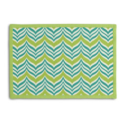 Teal Wavy Chevron Tailored Placemat Set - Class up your table's act with a set of Tailored Placemats finished with a contemporary contrast border. So pretty you'll want to leave them out well beyond dinner time! We love it in this modern undulating chevron in teal & lime green. it's ready to make waves in your outdoor decor.