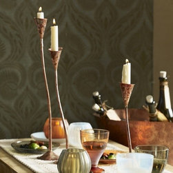 Copper Candlesticks - Emerald Fish - Set your table in style — and be sure to get a reaction from guests — with this set of three curving copper candlesticks.