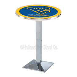Holland Bar Stool - Holland Bar Stool L217 - Chrome West Virginia Pub Table - L217 - Chrome West Virginia Pub Table belongs to College Collection by Holland Bar Stool Made for the ultimate sports fan, impress your buddies with this knockout from Holland Bar Stool. This L217 West Virginia table with square base provides a commercial quality piece to for your Man Cave. You can't find a higher quality logo table on the market. The plating grade steel used to build the frame ensures it will withstand the abuse of the rowdiest of friends for years to come. The structure is triple chrome plated to ensure a rich, sleek, long lasting finish. If you're finishing your bar or game room, do it right with a table from Holland Bar Stool. Pub Table (1)