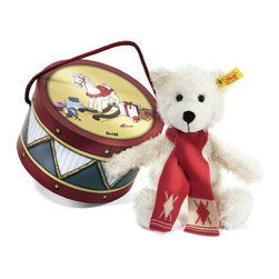 Steiff - Steiff Charly Dangling Plush Teddy Bear in Drum Box - Steiff Charly Dangling Teddy Bear in Drum Box is made of cuddly soft white plush. Machine washable without the suitcase. Ages 3 and up. Handmade by Steiff of Germany.