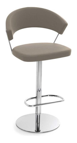 Calligaris - New York Swiveling w/ Gas Lift Bar Stool Gummy Leather, Taupe - Can you find perfection in a swiveling bar stool? Absolutely. Crafted in Italy of gleaming chrome and buttery smooth leather, it's definitely divine.