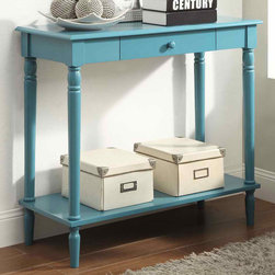 """Convenience Concepts - French Country Hall Table, Blue - The elegance of French Country is now available in rich accent colors. In a traditional design with a modern glossy blue finish. The French Country Hall Table features a drawer and bottom shelf for additional storage that will be sure to create a buzz.; Rich Glossy Blue Finish; Features Drawer and Bottom Shelf for Additional Storage; Easy Assembly; Traditional Design; Will Provide Years of Enjoyment.; Materials: MDF, Oak Wood Veneer, Particle Board, Rubber Wood; Weight: 25.5 lbs; Dimensions: 31.5""""L x 14""""W x 30""""H"""