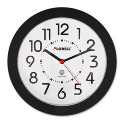 Lorell - Lorell Radio Controlled Wall Clock - Digital - Quartz - Atomic - Round wall clock is radio-controlled so the setting is modified each day to that of the atomic clock, accurate to one second per million years. The clock automatically adjusts to Daylight Saving Time and designed to work in the continental United States. Design also features an easy-to-read white dial, black Arabic numerals, red second hand sweep, plastic lens and black ABS plastic cover. Clock runs on one AA battery (sold separately).