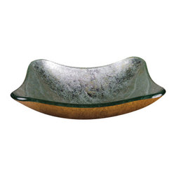Yosemite Home Decor - Teal Square Glass Basin - Rectangular basin featuring a beautiful teal interior with silver undertones and a golden textured exterior