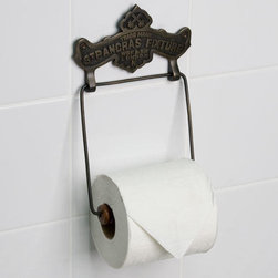 St Pancras Fixture Solid Brass Toilet Paper Holder - Designed with the St Pancras Fixture Trademark and logo and a simple drop down ring with wooden roller, this toilet paper holder will add a unique, vintage touch to your bathroom.