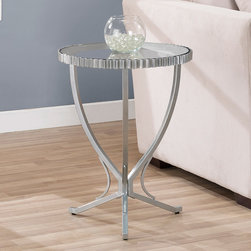 None - Scalloped Metal End Table - Add style and sophistication to any room with this chic metal end table. This cute table features a tempered glass top surrounded by a scalloped metal frame. Its scratch- and mar-resistant powder-coat finish makes this table perfect for any location.