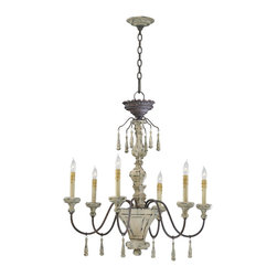 Kathy Kuo Home - Provence French Country White and Gray Wash 6 Light Chandelier - Wood accents and delicately curved lines of the Provence chandelier bring to mind easy afternoons in the French countryside.  Winding curves and decorative ornaments mixed with wooden drops and a delicate ornamental chain captures the spirit of hand crafted craftsmanship in an old world feel.