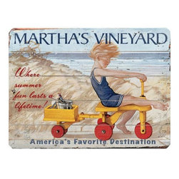 Home Decorators Collection - Where Summer Fun Lasts a Lifetime Wood Sign - The Where Summer Fun Lasts a Lifetime Wooden Sign is a vibrant, colorful recreation of a vintage advertisement for Martha's Vineyard. Expertly crafted from planks of high-quality wood, this bold unframed art piece will add a charming vibe to your space with a hint of rustic texture. Place one in your kitchen, living room or entryway for a classic look that complements both traditional and modern decor styles alike. Order today! Includes hardware for easy hanging in any room. Crafted from solid wood for years of lasting beauty. Indoor use only.