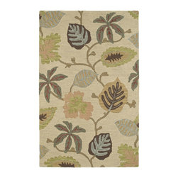 Kaleen - Country & Floral Botany 2'x3' Rectangle Linen Area Rug - The Botany area rug Collection offers an affordable assortment of Country & Floral stylings. Botany features a blend of natural Linen color. Hand Tufted of 100% Wool the Botany Collection is an intriguing compliment to any decor.