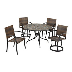 HomeStyles - Stone Harbor 5PC Dining Set with Newport Chai - Powder-coated steel. Synthetic-weave is both moisture and weather resistant. Nylon glides on legs for stability. 2-inch umbrella opening. Table Dimensions: 51.25 in. W X  51.25 in. D X  29.5 in. H. Chair Dimensions: 24.5 in. W X  24.5 in. D X  36 in. HCreate a tranquil and majestic atmosphere with The Stone Harbor 5PC Dining Set. The table top is constructed of small, square, hand-applied slate tiles in a naturally occurring gray variation; no two tables alike; featuring a center opening that can be used for an umbrella or can be closed with the included black cap for a continuous surface.  The cabriole designed base is constructed of powder coated steel in a Black finish. The Newport Chairs features a two-tone walnut brown CycropleneTM, synthetic-weave, seat and back over a powder-coated steel frame in a black finish. The synthetic-weave is both moisture and weather resistant and required very little maintenance.  Adjustable, nylon glides prevent damage to surface caused by movement and provide stability on uneven surfaces.  Swivel chairs feature ball bearing 360 degree swivel. Seat height measures 18 inches high.  Set includes dining table, two swivel chairs, and two arm chairs. Table Size:  51.25w 51.25d 29.5h.  Chair Size: 24.5w 24.5d 36h.