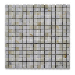 "Stone Center Corp - Calacatta Gold Marble Square Mosaic Tile 5/8x5/8 Honed - Calacatta Gold Marble 5/8""x5/8"" square pieces mounted on 12""x12"" sturdy mesh tile sheet"