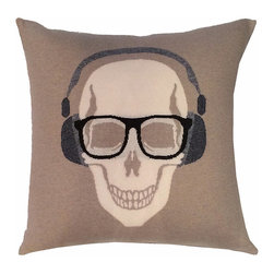 Rani Arabella - Rani Arabella Chocolate Skull Headphones Cashmere Blend Pillow - Add a bold, quirky print to your living or dining room using the Skull Headphones Cashmere Blend Pillow. Made from 70% cashmere and 30% wool, this pillow features a white skull image with glasses and headphones against a beige background. Pair it with neutral-toned decor for a cohesive, but eye-catching look. Includes a 50% down and 50% polyester insert. Dry clean only. Made in Italy.