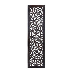 Floral Pattern Wall Panel - 19W x 72H in. - Rooms blossom when you display the Floral Pattern Wall Panel - 19W x 72H in. And it's easy to see why - the cutout floral pattern features dozens of daisy-like blooms, and the well-seasoned wood is finished in a high-gloss brown tone that's right at home in most any home. Installation hooks even come included.