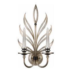 Fine Art Lamps - Fine Art Lamps 814650ST Villandry Silver Leaf Wall Sconce - 2 Bulbs, Bulb Type: 20 Watt G4 Halogen; Weight: 7lbs