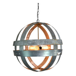 "Wine Country Craftsman - Wine Barrel Double Ring Chandelier - Atom - Cyclopean - Atom - ""Cyclopean"" - Wine Barrel Double Ring Chandelier - 100% Recycled"