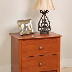 Prepac - Monterey Nightstand w 2 Drawers - Enhance your bedroom with this delightful two drawer nightstand that comes in a rich and radiant cherry color.  Its profiled top, side moldings, and arched kick plate offer a very subtle yet tasteful design for any room.  Accentuate any cherry colored bedroom furniture collection with this charming two drawer night stand Each drawer features attractive and round solid brushed nickel knobs with such complementing features as a profiled top and an artfully arched kick plate. * Includes instruction booklet. Detailed with curved top edges, side moldings and scalloped base panel. Drawers run smoothly on metal glides with built-in safety stops. Clear lacquered real wood drawer sides. Solid dark pewter knobs. Durable laminate finish. CARB-compliant. Warranty: 5 years limited. Made from laminated composite woods with a sturdy MDF backer. Made in North America. Assembly required. Drawer:  16.5 in. W x 12.5 in. D x 5 in. H. Overall: 23.25 in. W x 16 in. D x 21.75 in. HWith its elegant detailing and practical storage, the Monterey 2 Drawer Nightstand is more than just a place to keep your bedside lamp. This space-saving bedside table gives you two full-size drawers, each perfect for storing the odds-and-ends of your life out of sight. Use the sturdy top to pile on your books, cell phone, alarm clock and lamp, all the while enjoying its scalloped details and quiet sophistication.