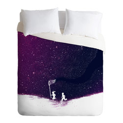 DENY Designs - Budi Kwan Starfield Purple Duvet Cover - Turn your basic, boring down comforter into the super stylish focal point of your bedroom. Our Luxe Duvet is made from a heavy-weight luxurious woven polyester with a 50% cotton/50% polyester cream bottom. It also includes a hidden zipper with interior corner ties to secure your comforter. it's comfy, fade-resistant, and custom printed for each and every customer.