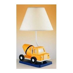 CAL Lighting - Cal Lighting 2-Light Construction Truck Table Lamp - 60W with 7W Nite Lite, Cement Truck