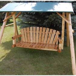 Moon Valley Rustic Furniture - Moon Valley Adirondack Swing and Frame Canopy - M103-FOREST GREEN - Shop for Porch Swings from Hayneedle.com! Make a whole day out of relaxing in rustic style under this Adirondack 5 ft. Swing and Frame Canopy. A perfect addition to your Adirondack 5 foot Swing and frame this canopy is made durable to keep you cool in the shade all day and comes in stylish color options. About Moon Valley Rustic Furniture Since 1928 Moon Valley has been all about one thing: crafting the finest wooden outdoor furnishings for your home. Though times have certainly changed in the past 70 years Moon Valley's dedication to beautifully meticulously crafted products has remained constant. Starting with the finest northern white cedar or ponderosa pine each Moon Valley product is handcrafted using classic sturdy doweled construction which ensures lasting durability and function. An established family company with decades of experience Moon Valley remains true to old-fashioned dependability quality and impeccable customer service.